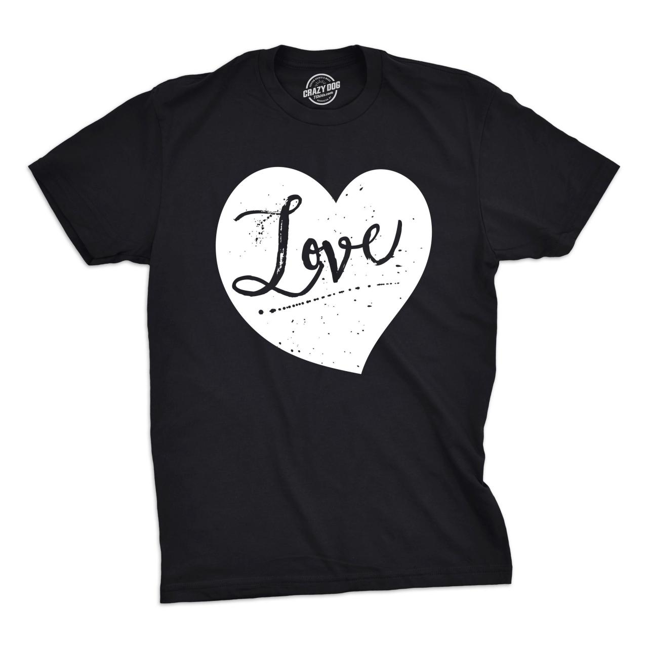 Love Black And White Heart Mens Valentines Day Shirts, Love Husband Shirts, Hubby Big Heart Tee, Tops That Say Love Man S M L XL XXL