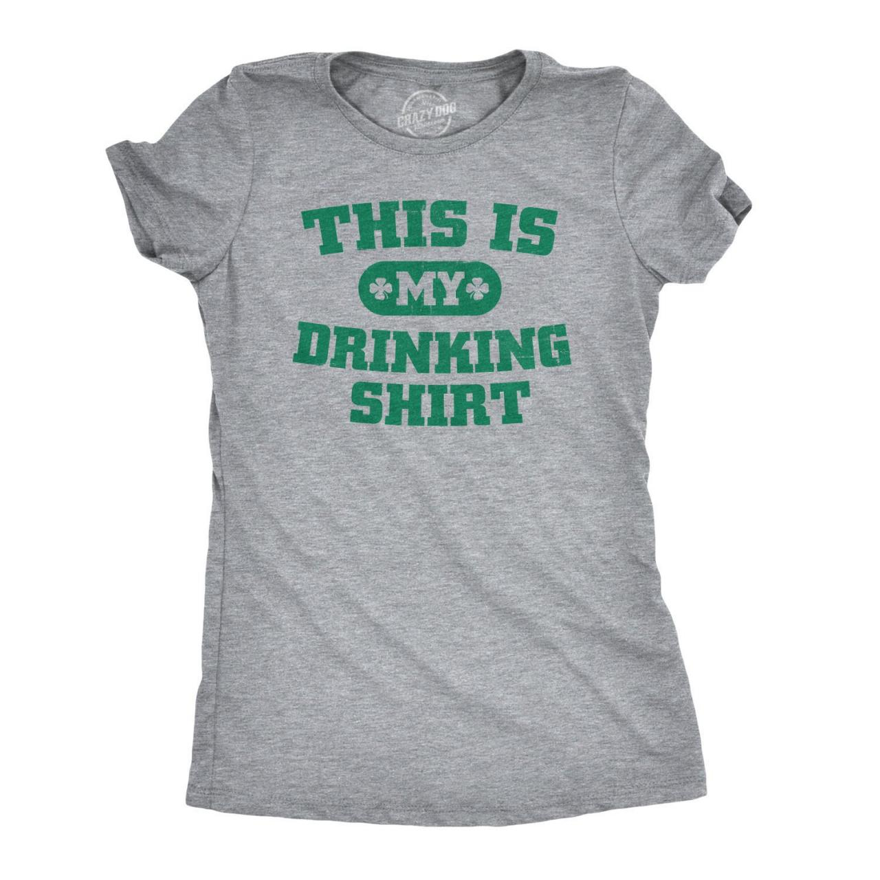 Womens This Is My Drinking Shirt, St Patricks Day T-Shirt Green, Irish Getting Drunk Tee, Party Night Out Shirt, S-2XL