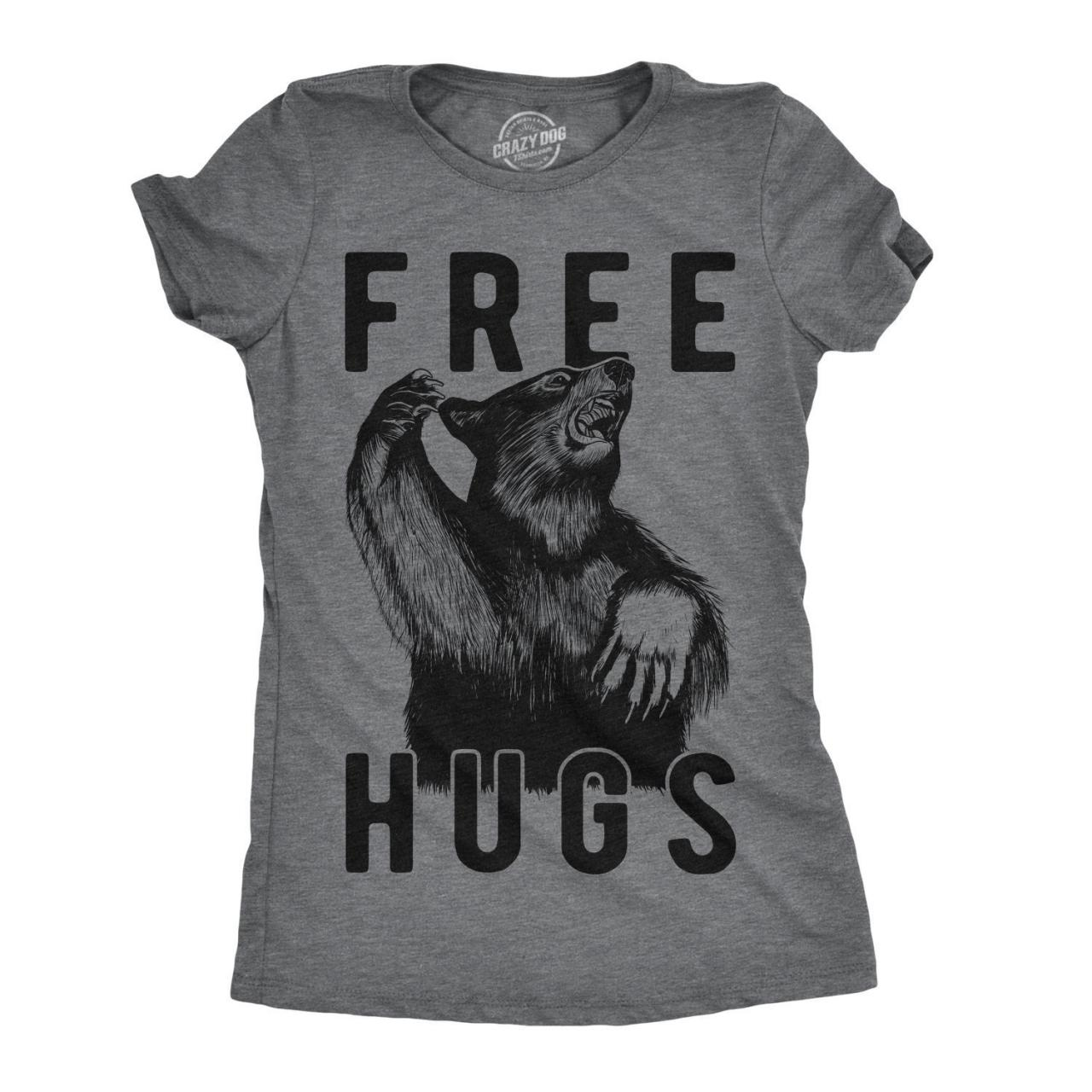 Free Hugs Angry Bear Shirt, Funny Bear Shirts, Camping Shirt Women, Great Outdoors, Grizzly Beer Tee, Cool Bear Shirt, Funny Shirt Mom