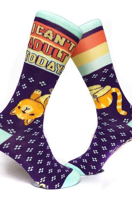 Womens Cat Socks, Cat Lover Socks, I can't Adult Today Socks, Cool Womens Socks, Funny Socks Women, Crazy Socks, cat socks for women