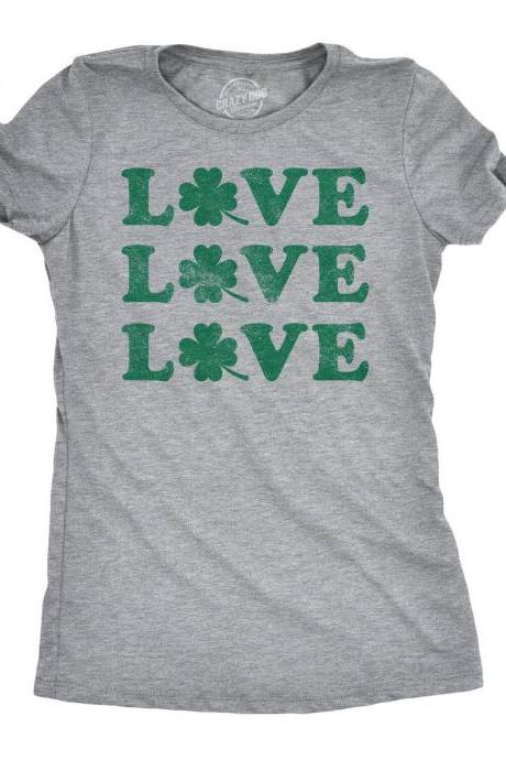 Shamrock Shirt Women, Shenanigan Shirt, Lucky Green Irish shirt, Luck Of The Irish, Ireland Tee Women, Clover Shirt, Love Love Love Shamrock