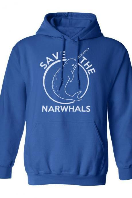 Save The Narwhals HOODIE, Narhwal Gift, Fish Sweater, Funny Hoodies Men, Blue Narwhal Top, Unicorn Of The Sea Hoodie, Gifts Under 20 Men