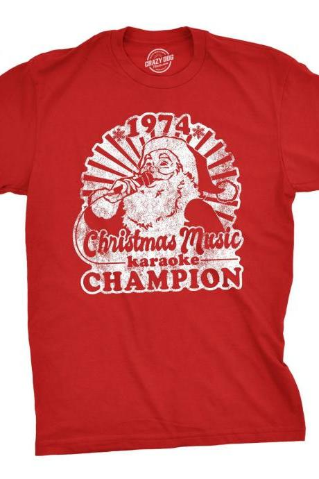 Santa Face Christmas 1974 Shirt, Christmas Music Karaoke Champion, Festive Tees Men, Funny Christmas Shirts, Christmas Music Lover Shirt