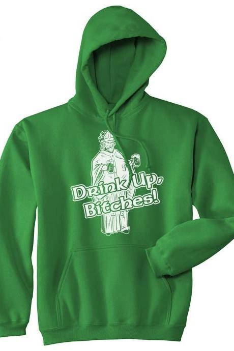 Drink Up St Patricks Day HOODIE, Funny Irish Night Out Drinking Hoody, Saint Pattys Day Booze Party Hoodie Man, Saint Paddys Day Top Man