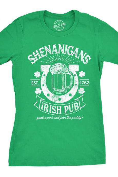 Shenanigans Irish Pub Shirt, Shamrock Shirt Women, Lucky Green Irish shirt, St Patricks Day, Clover Shirt, Funny Shirts Women