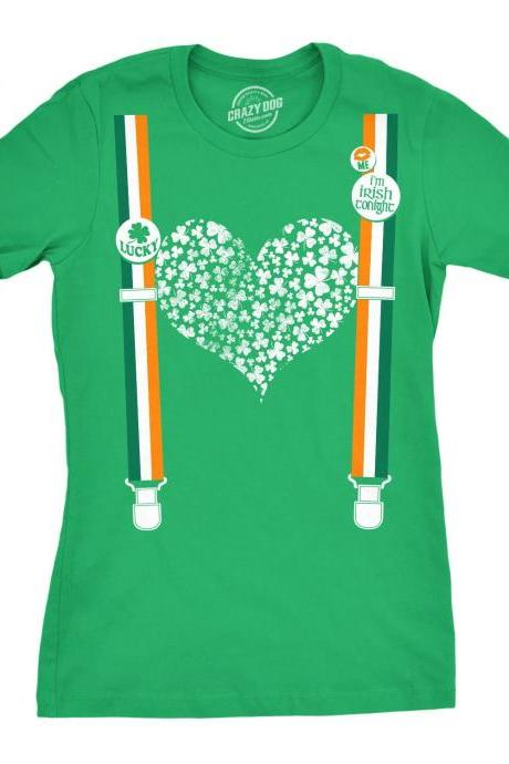 Clover Heart Suspenders, Shamrock Shirt Women, Shenanigans Shirt, Lucky Green Irish shirt, Ireland Women, Clover Shirt, Joke Shirts Women