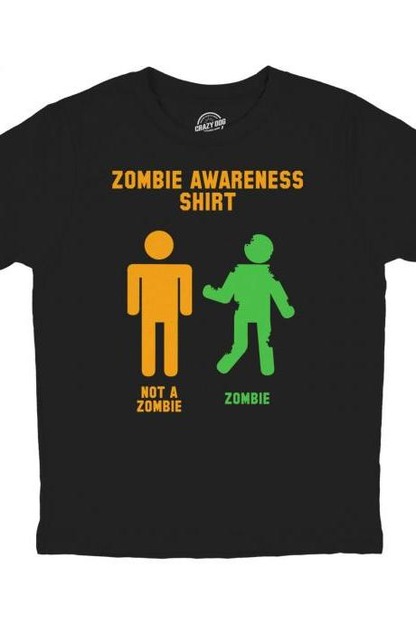 Kids Zombie Shirt, Zombie Apocalypse T Shirt, Funny Zombie Clothes, Halloween Zombie Shirt, Youth Zombie Awareness T Shirt, Funny Halloween
