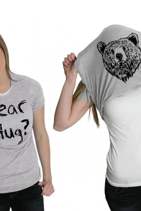 Funny Camping Shirt, Bear Hug Flip Shirt, Animals T Shirt, Great Outdoors Shirt, Survival T Shirt, Ask Me For A Bear Hug Flip T-Shirt