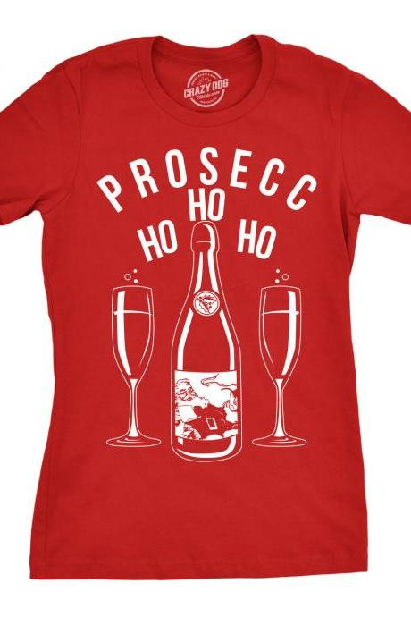 Prosecco Christmas Party Shirt Women, Champagne Glass Xmas Shirt, Red T Shirt Xmas, Rude Christmas Tee, Offensive Xmas, Prosecco