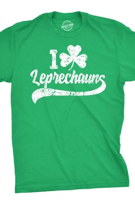 I Love LEPRECHAUNS Shirt Men, St Patricks Day Clover Shirt Man, Shenanigans Shirt, Lucky Green Shamrock Shirt Man, Funny Ireland Tee Guys