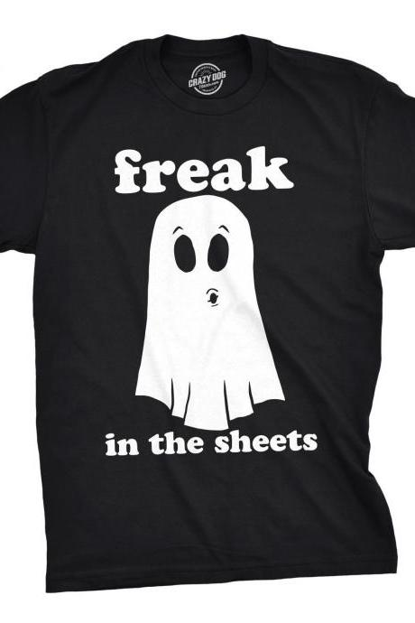 Ghost Shirt, Halloween Shirt Men, Black Spooky Shirt, Funny Halloween Shirt, Halloween Costume, Funny Halloween Clothes, Freak In The Sheets
