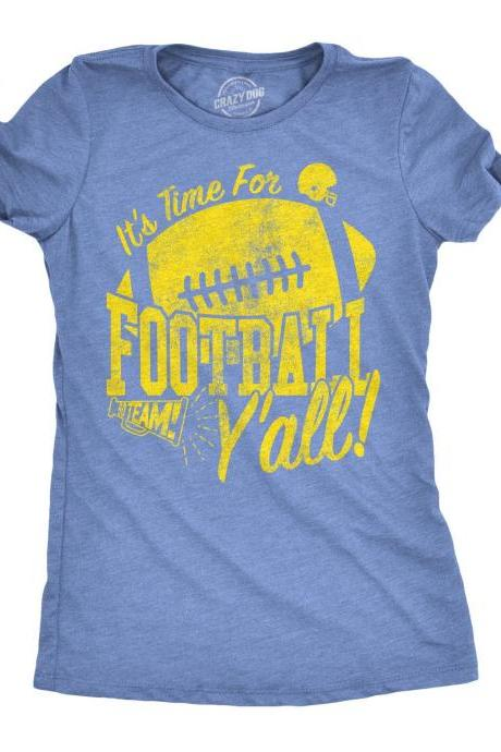 Football Mom Tee, Its Time For Football Y'all, Womens Football Shirt, Game Day Shirt, Cute Football Shirt For Women, Sunday Funday