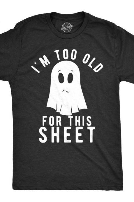 Ghost Shirt, Halloween Shirt Men, Black Spooky Shirt, Funny Halloween Shirt, Trick Treat Costume, Im Too Old For This Sheet, Ghost Costume