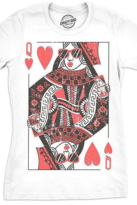 Poker Shirts, Womens Queen Of Hearts Shirt, Playing Card Shirt, Royalty Shirt, Womens Funny Shirt, Funny Workout Shirt for women
