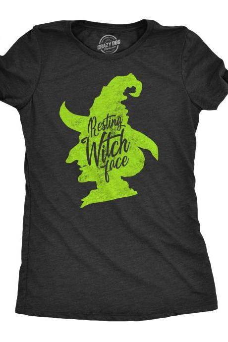 Wicked Witch Shirt, GREEN FACE Resting Witch Face, Occult Shirts, Green Halloween Witch T Shirt, Womens Funny T shirt, Green Witch Tee