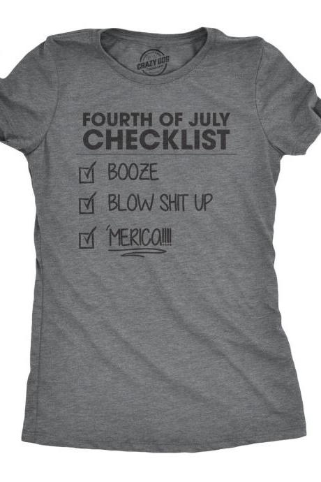 Independence Day Shirt, 4th of July Party Shirt, American Celebration Shirt, Murica Shirt, Beer Shirt, Fourth Of July Checklist Womens Shirt