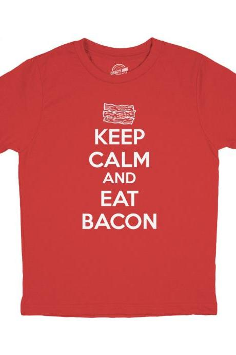 Youth Foodie T Shirt, Bacon Shirt Kids, Youth Shirts With Sayings, Bacon Meme Shirt, Keep Calm and Eat Bacon, Breakfast T Shirt