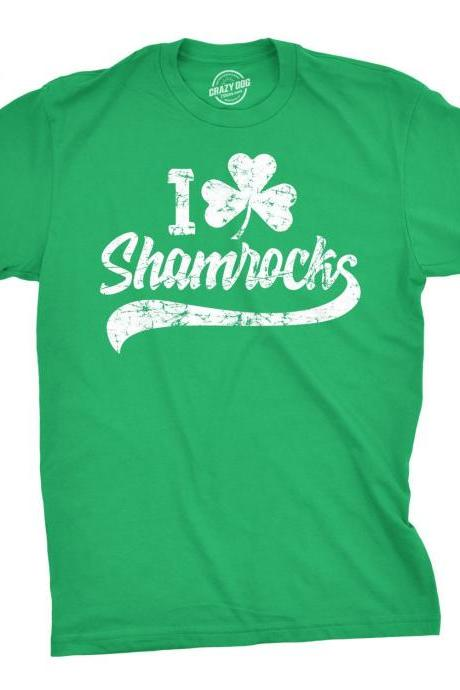 I Clover SHAMROCKS Men, Saint Patricks Day Shirt, Shenanigans Shirt, Lucky Green shirt, Shamrock Shirt Mens, Clover Shirt, Funny Shirts Man