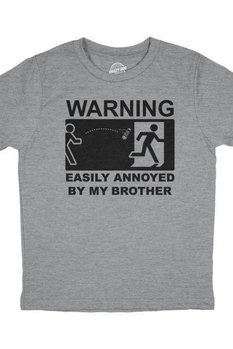 Funny Sister Shirt, Kids Sister Shirt, Sibling Shirts, Big Sister Shirt, Big Sister Gift, Youth WARNING Easily Annoyed By Brother
