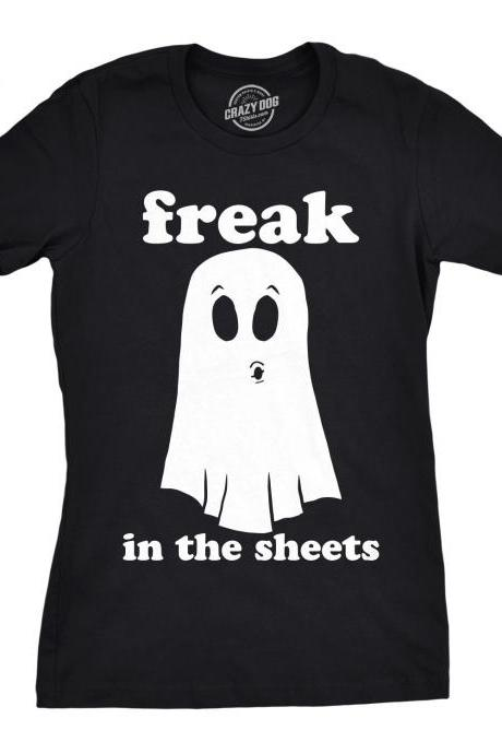 Ghost Shirt Women, Black Spooky Shirt, Funny Halloween Shirt, Halloween Costume, Funny Halloween Clothes, Freak In The Sheets