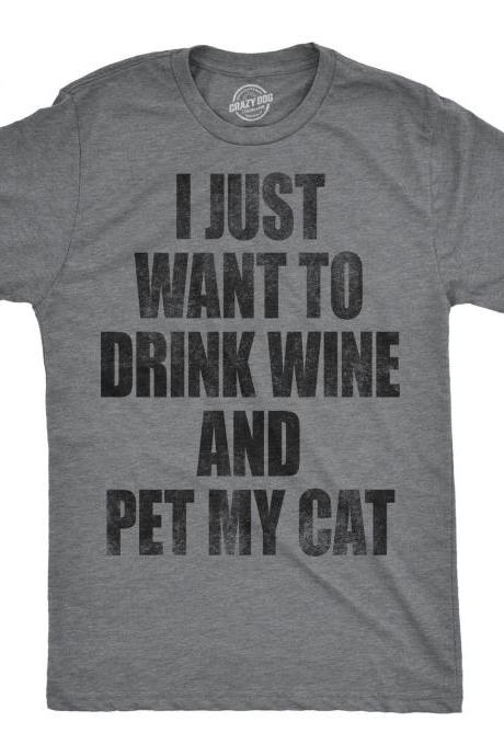 Drink Wine Pet My Cat, Funny Cat Shirt, Cat Dad Shirt, Mens Cat T shirt, Gift For Cat Lovers, Cat Shirt For Men, Cat Lover