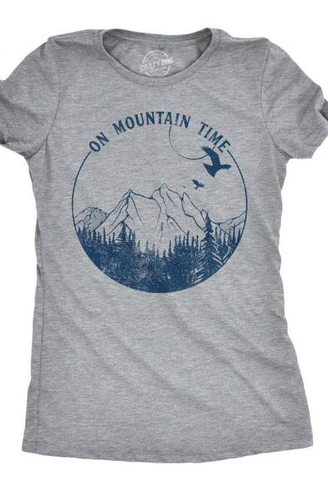 Mountains Shirt Woman, Camping Gift, Womens Hiking T Shirt, Happy Camper T shirt, Funny Camping Shirt For Women, On Mountain Time Shirt