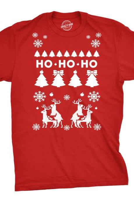 Christmas In July, Humping Reindeer Shirt, Ho Ho Ho Christmas Tree Shirt, Red T Shirt Xmas, Rude Christmas Tee, Offensive Xmas Gifts