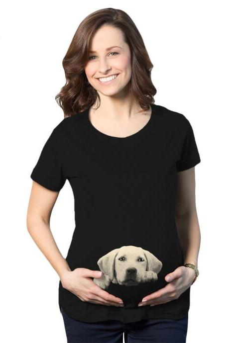 Lab Baby Peeking Shirt, Funny Maternity Shirt, Funny Pregnant Shirt, Cute Maternity Shirt,, Peeking Baby Lab Shirt, Labrador Retriever Shirt