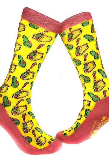 Women's Food Socks, Taco And Avocados Socks, Mexican Theme Socks, Taco Gifts, Taco Lover Presents, Funny Foodie Socks, Food Lover Gift