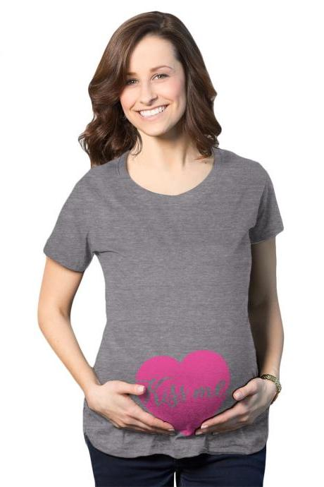 Kiss Me Candy Baby Maternity Shirt, Pink Heart Valentines Day Pregnancy Tee, Baby Heart Pregnant Shirt, Mom To Be Heart, Cute Baby Bump Top