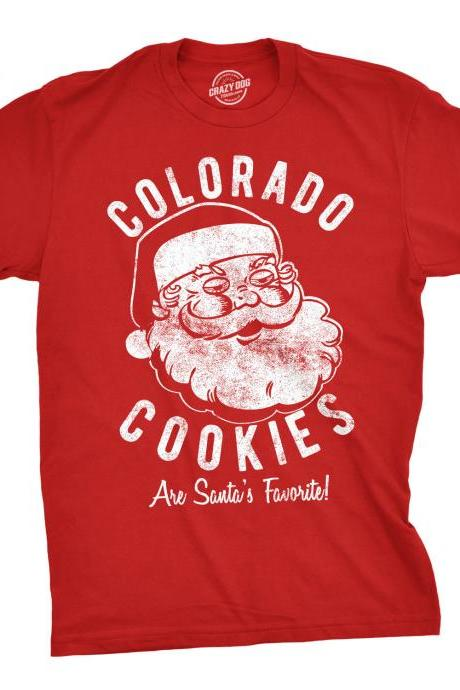 Santa Face Christmas Shirt, Christmas Shirt Men, Colorado Cookies Shirt, Festive Tees Guys, Christmas Pot Shirt, Christmas Weed Shirts