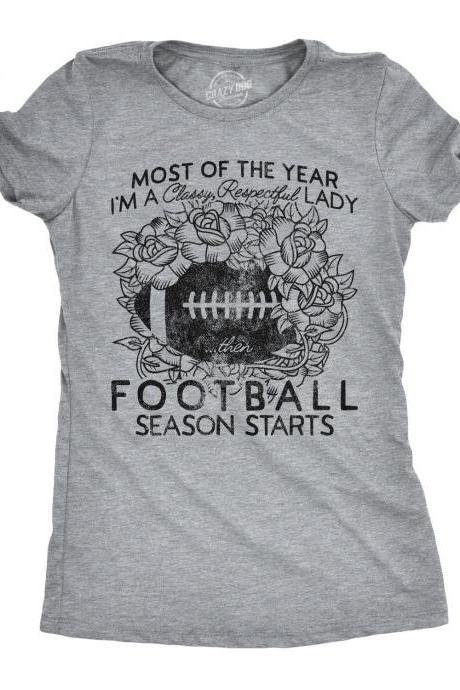 Football Mom Tee, Classy Respectful Lady Until Football Season Starts, Womens Football Shirt, Game Day Shirt, Football Shirt, Sunday Funday