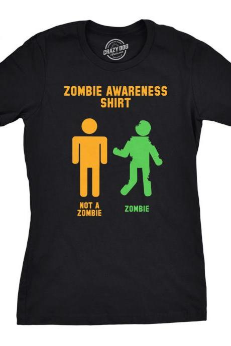 Black Zombie Shirt Women, Sci Fi T Shirt, Womens Zombies Awareness T Shirt, Sarcastic Zombie Apocalypse Shirt, Halloween Undead Shirt