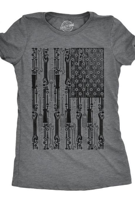 American Flag Shirt Women, Girls Mechanics Shirt, 4th Of July Shirt, Tool Flag Shirt, Handyman Shirts, Cool American Flag Shirt