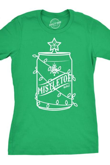 Beer Can Xmas Shirt, Girls Funny Festive Tee, Mistletoe Malt Shirt, Christmas Shirt Womens, Drinking Christmas Tree Shirt