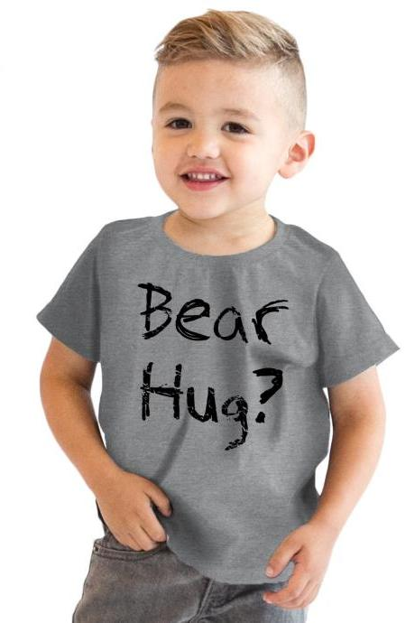 Kids Bear Hug T Shirt, Ask Me About My Bear Hug Kids Shirt, Boys T Shirt, Bear Gifts, Kids Bear Flip Shirt, Funny Kids Clothes