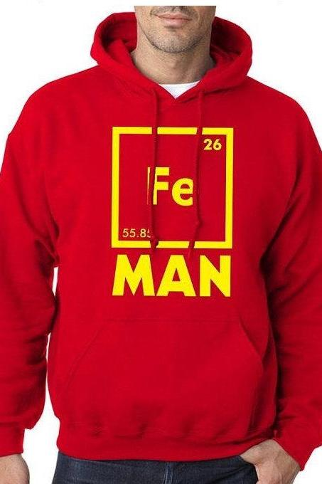 Chemistry Hoodie, Fe Man HOODIE, Science Hoodies, Science College Gift, Funny Mens Hoodies, Science Geek Gift, Chemistry Teacher Gift