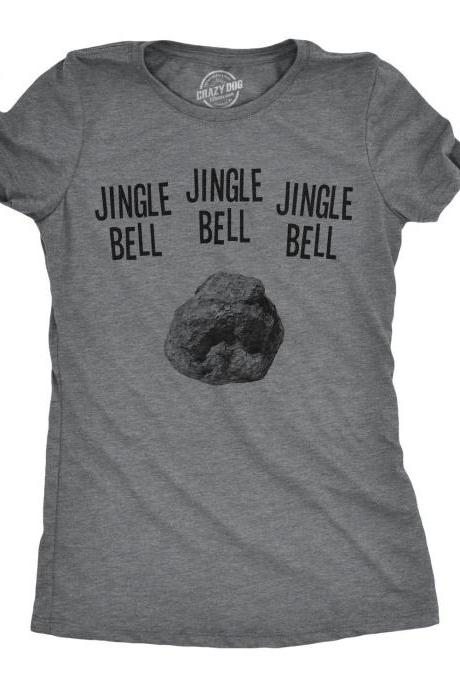 Womens Christmas T Shirts With Sayings, Jingle Bell Rock, Mom Joke Xmas Tee, Funny Christmas Shirts, Holiday Party Shirts