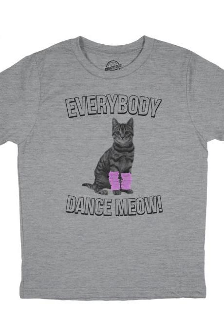 Youth Cat Shirt, Dancing Cat Shirt, Funny Cat T Shirt, Kids Cat Shirt, Gift For Cat Owner, Youth Everybody Dance Meow T Shirt