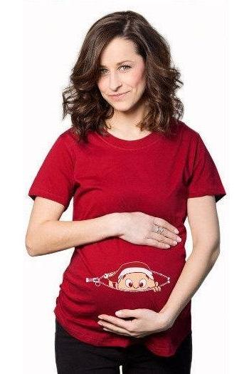 Christmas Maternity Shirt, Peeking Baby Xmas Shirt, Christmas Pregnancy T Shirt, Red Pregnancy Xmas Top, Festive Maternity Wear