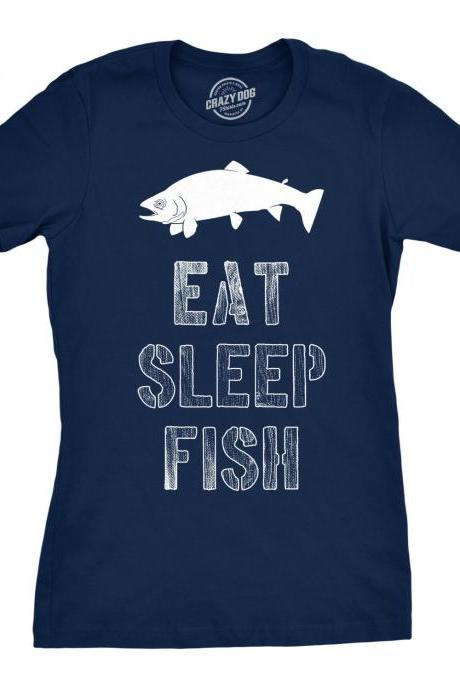 Womens Eat Sleep Fish T Shirt Funny, Fishing Shirt Women, Fishing Girlfriend, Gift For Fishermen, Funny Fish Shirt, Fishing Gifts Women