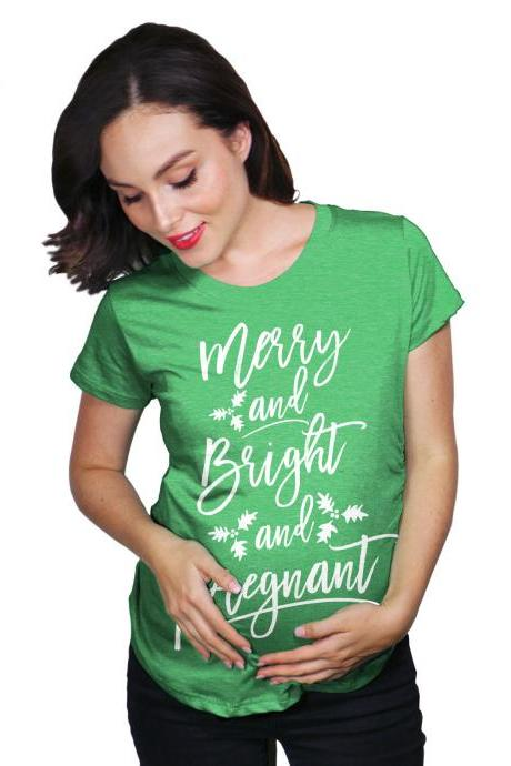 Best Gift Maternity Shirt, Christmas Pregnant Shirt, Pregnancy New Mom, Christmas Baby Gift, Baby Bump Shirt, Merry And Bright And Pregnant