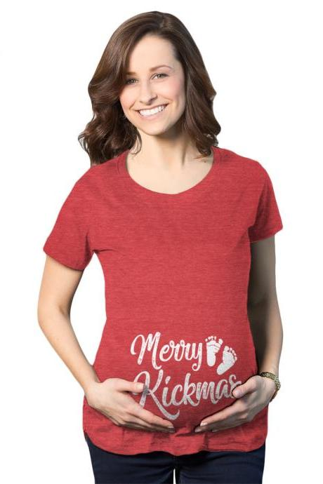 Christmas Maternity Shirt, Christmas Pregnancy Reveal, Pregnant For Xmas Tops, Red Festive Ruched Baby Bump Tops, Merry Kickmas Shirt