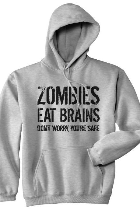 Funny Hoodies, Zombie Gifts, Zombie Hoodie, Zombie Apocalypse, Funny Zombie Top, Zombies Eat Brains, Funny Horror Hoodie
