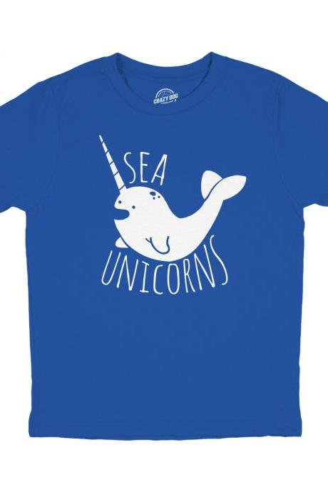 Youth Sea Unicorns Shirt, Boys Narwhal Shirt, Kids Unisex Shirts, Funny Narwhal T Shirt, Childrens Fish Shirt, Narwhal Graphic Shirt