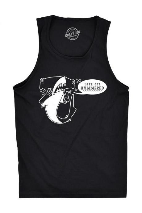 Stag Do Tank Tops, Vegas Drinking Shirts, Lets Get Hammered Tank Top Mens, Bachelor Party Shirt, Shark Shirts Funny, Drinking Shirt