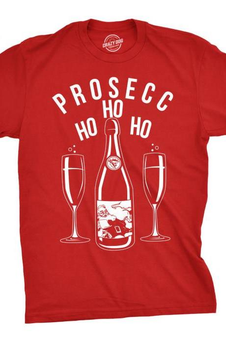 Prosecco Christmas Shirt Men, Ho Ho Ho Christmas Tree Shirt, Red T Shirt Xmas, Rude Christmas, Offensive Xmas Gifts, Drinking Shirt