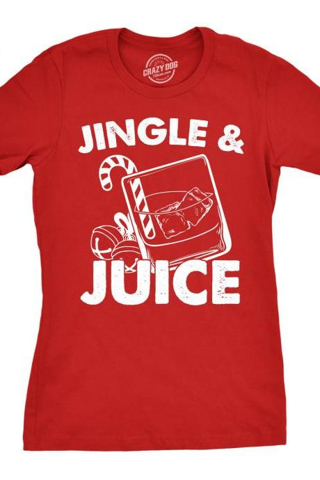 Womens Christmas Party Shirt, Jingle And Juice Shirt, Ho Ho Ho Christmas Tree Shirt, Red T Shirt Xmas, Rude Christmas, Offensive Xmas Gifts