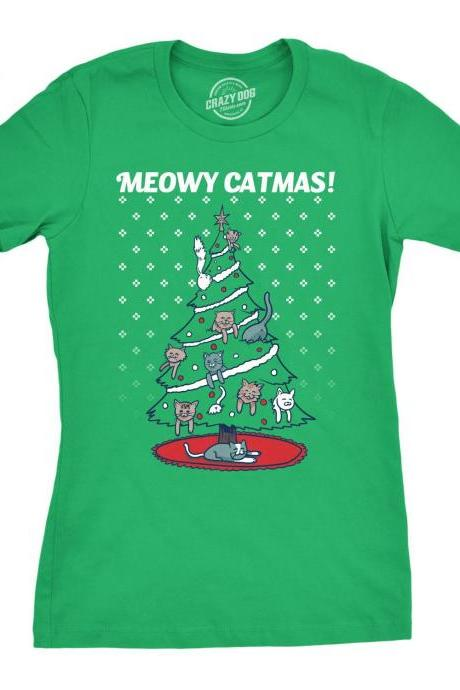 Cat Christmas Shirt, Xmas Tree T Shirt, Funny Cat Shirt Xmas, Girls Festive Cat Shirt, Gifts Under 20 Women, Meowy Catmas