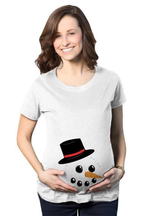Snowman Maternity Shirt, Christmas Pregnant Shirt, Pregnancy New Mom, Xmas Baby Gift, Baby Bump Shirt, Christmas Mum To Be Gifts